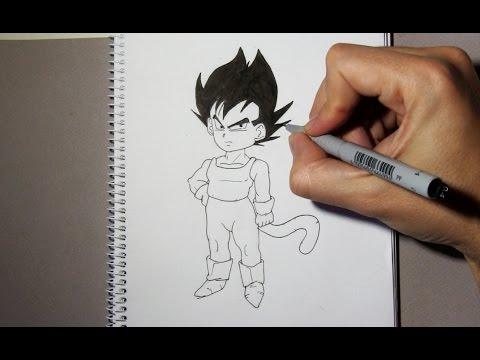 Comment dessiner Vegeta enfant étape par étape - YouTube