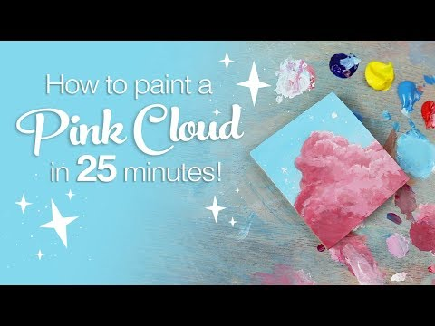 How to Paint a Pink Cloud in 25 min! (acrylic paint)