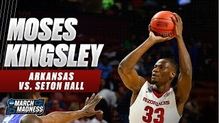 Arkansas' Moses Kingsley with 23 points, 4 BIG blocks vs. Seton Hall!