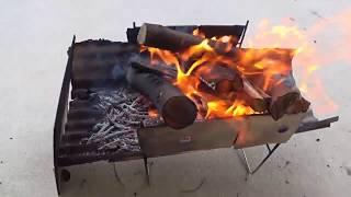 ピコ風焚火台の火床を変えて焚火を楽しむ【ロケットストーブも火入れ】