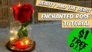 DOLLAR TREE BEAUTY AND THE BEAST ENCHANTED ROSE TUTORIAL