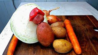 Тушёная капуста картошка Простое блюдо из детства