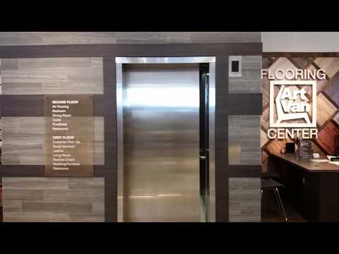 (1st in MI) Otis HydroFit MRL hydraulic elevator at Art Van Furniture in Canton, MI