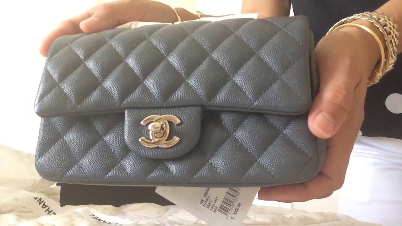 78bcff2e31e9e9 Unboxing CHANEL mini flap dark grey caviar leather - YouTube
