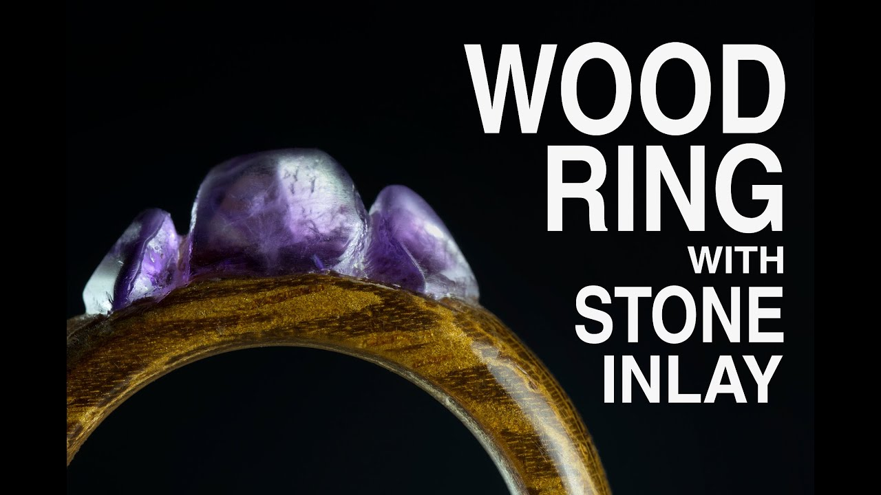 Make wood ring with stone inlay Amethyst