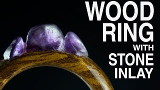 Wood Ring With Stone Inlay (amethyst)