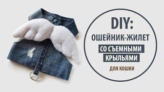 DIY: Джинсовый ошейник-жилет со съемными крыльями для кошки | Tutorial Jeans recycle
