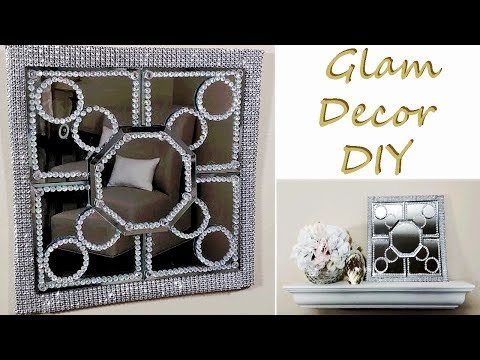 Dollar Tree DIY Glam Geometric Mirror Bling Wall Decor