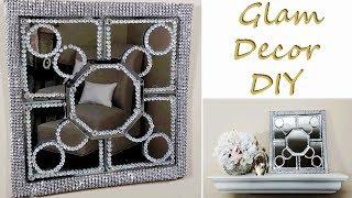 Dollar Tree DIY Glam Geometric Mirror Bling Wall Decor