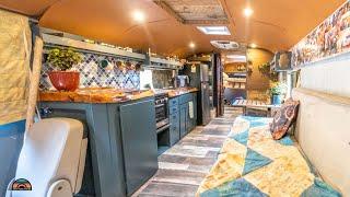 Download Adorable DIY School Bus Tiny House - Shower, Toilet & Double Work Desks