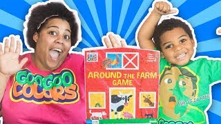 GOO GOO GAGA PLAYS AROUND THE FARM BOARD GAME FOR KIDS! Learn Animal Sounds and Names