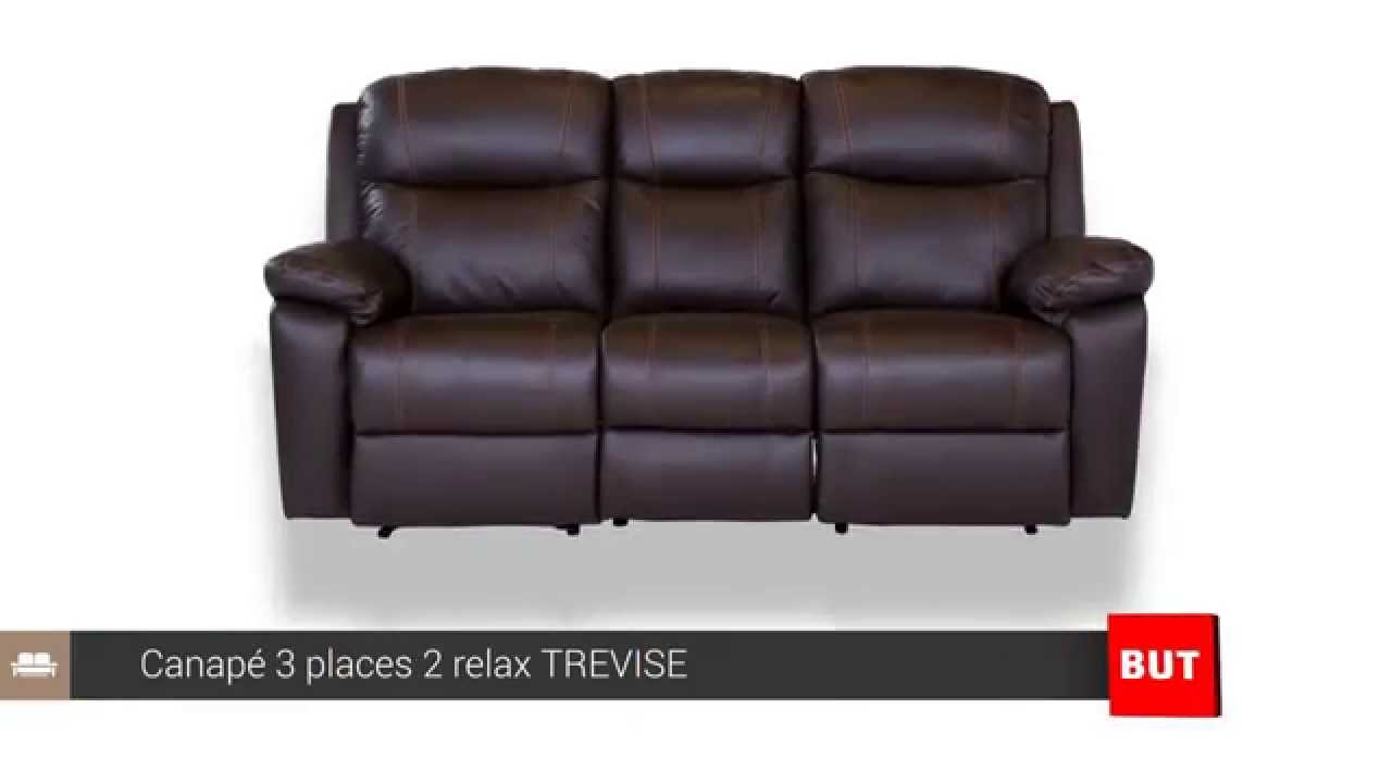 Canape Cuir Places Relax TREVISE BUT YouTube - Canapé cuir 3 places fauteuil