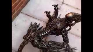 Alien Creep 100cm Metal Art Productions Scrap Parts Sculpture
