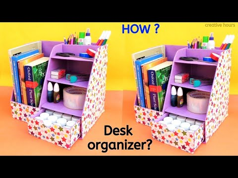 DIY: How to make Desk Organizer from Cardboard Box | Best out of waste
