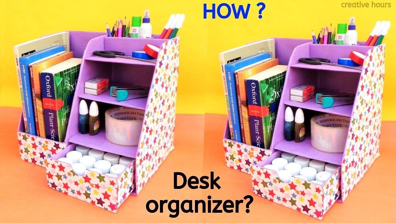 DIY: How to make Desk Organizer from Cardboard Box | Best ...