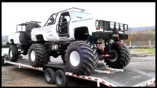 WHITE CHEVY MONSTER TRUCK AND TRAILER AT BIG AL'S RACETRACK ,OCTOBER 27, 2012