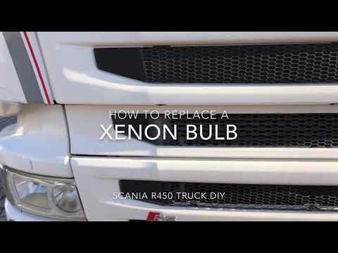 How to replace a Xenon bulb HGV Scania R450 Truck DIY