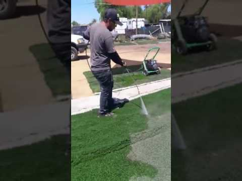 ZasGrass : How to Clean recycled turf with power wash used fake grass from sports fields