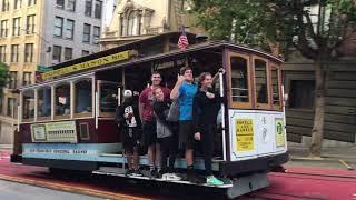 Powell-Mason Cable Car 4 @ Powell St & Sutter St San Francisco California (Slow Motion)