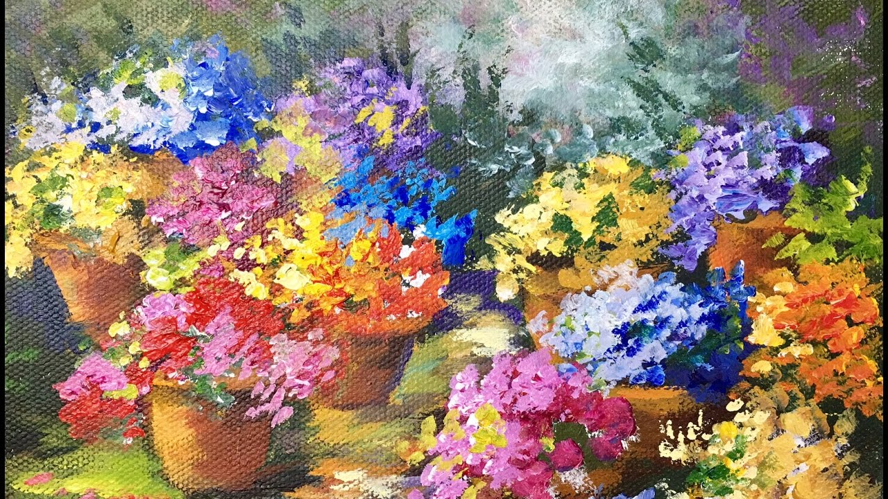 Pots of flowers a beginner acrylic painting tutorial by ginger pots of flowers a beginner acrylic painting tutorial by ginger cook izmirmasajfo