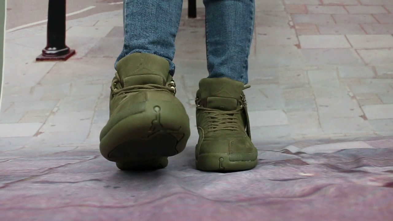 933a73571d32 On Foot Show of PSNY x Air Jordan 12 Olive - YouTube