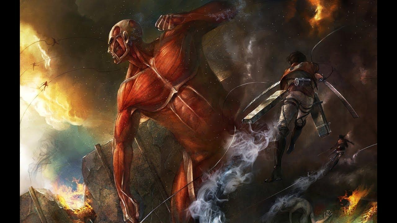 Attack On Titan Colossal Titan Destroys Wall Maria Youtube
