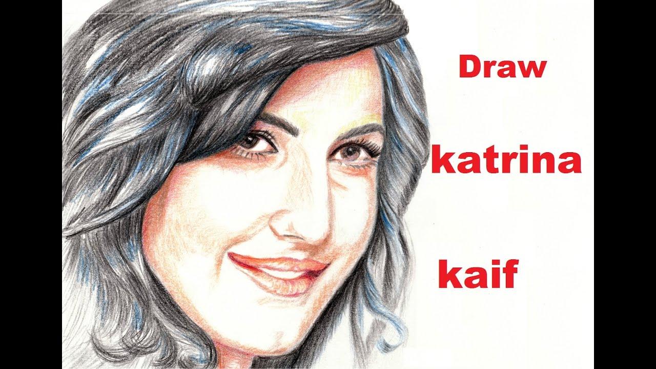 How to draw katrina kaif with pencil sketch