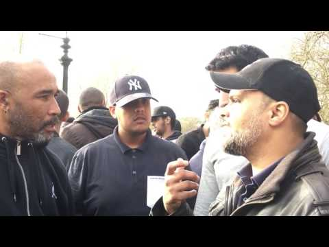 Alex delays Shahada for another day. Br Hashim and Alex. Speakers Corner