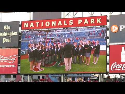 Washington National Cathedral Choristers sing the National Anthem at Nationals Park 9-13-2017
