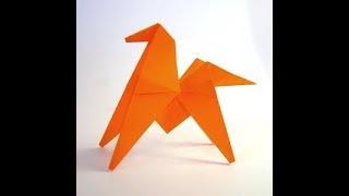 как сделать оригами лошадь из бумаги видео на