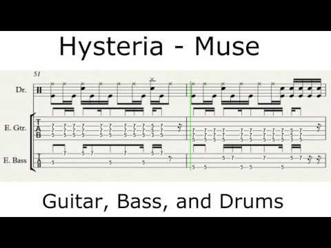 Hysteria - Muse - Guitar, Bass, and Drums Tutorial - WITH TAB