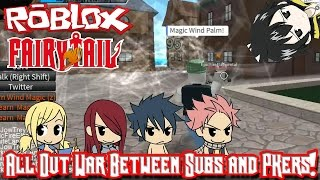 Roblox: Fairy Tail Online Fighting | All Out War Between Subs and PKers!