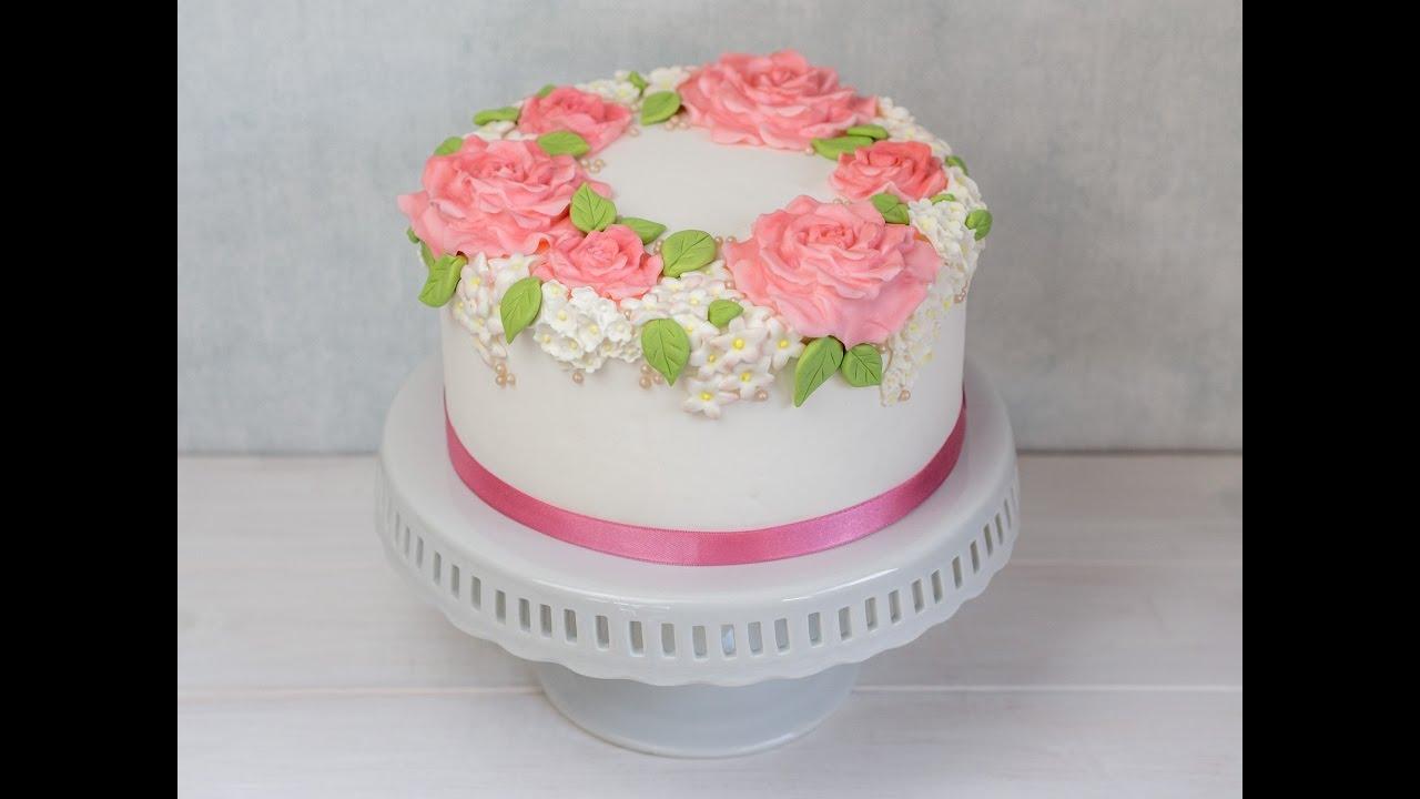 Hochzeitstorte Selber Machen Blumenkranz Torte Teil 2 Fondant