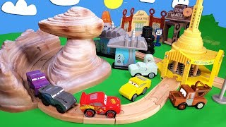 Disney Cars Wooden Radiator Springs Track set with lightning Mcqueen Cruz Ramirez Jackson Storm toys