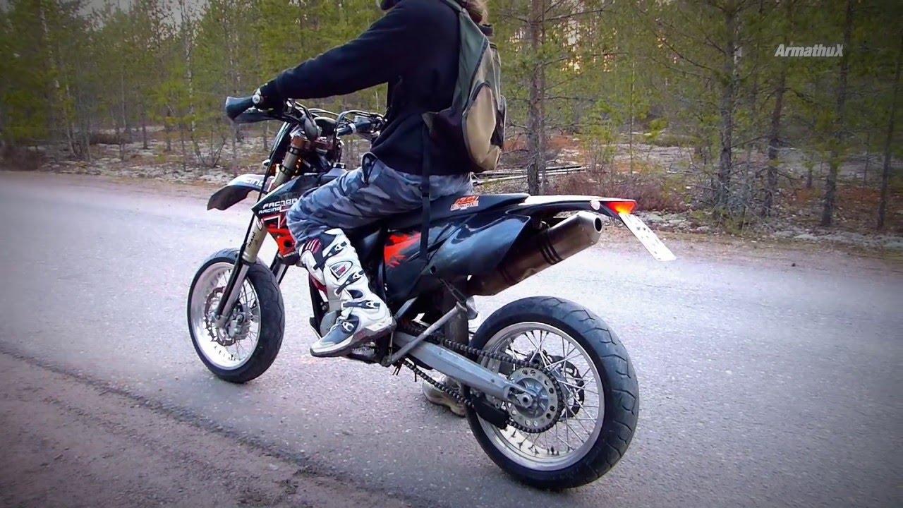 Ktm 450 Exc >> KTM 525 Supermoto - Akrapovic Sound Bites & Power Wheelies - YouTube
