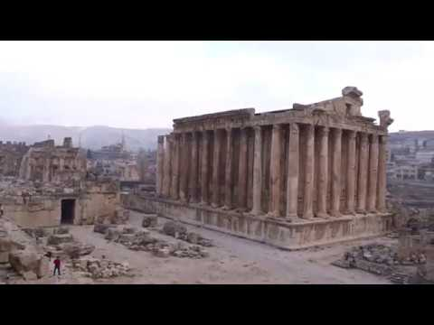 Baalbek Roman Site - Bekaa Valley, Lebanon - zoom out from Temple Of Bacchus