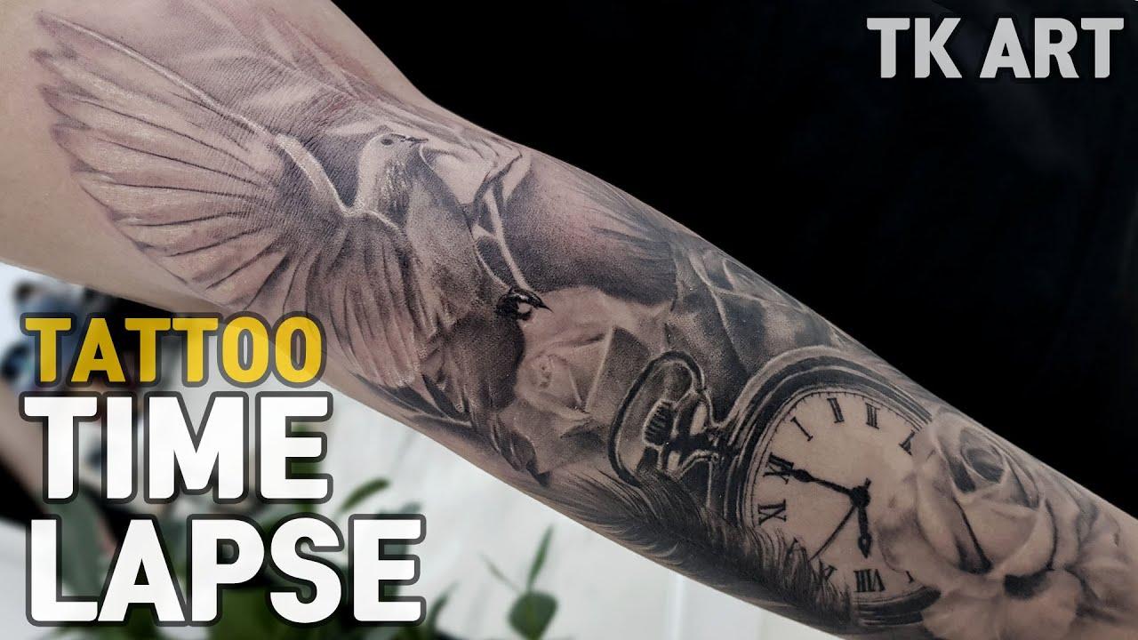 852e9d3e4 Tattoo Time lapse / Pigeon tattoo / black and gray tattoo / TK ART ...