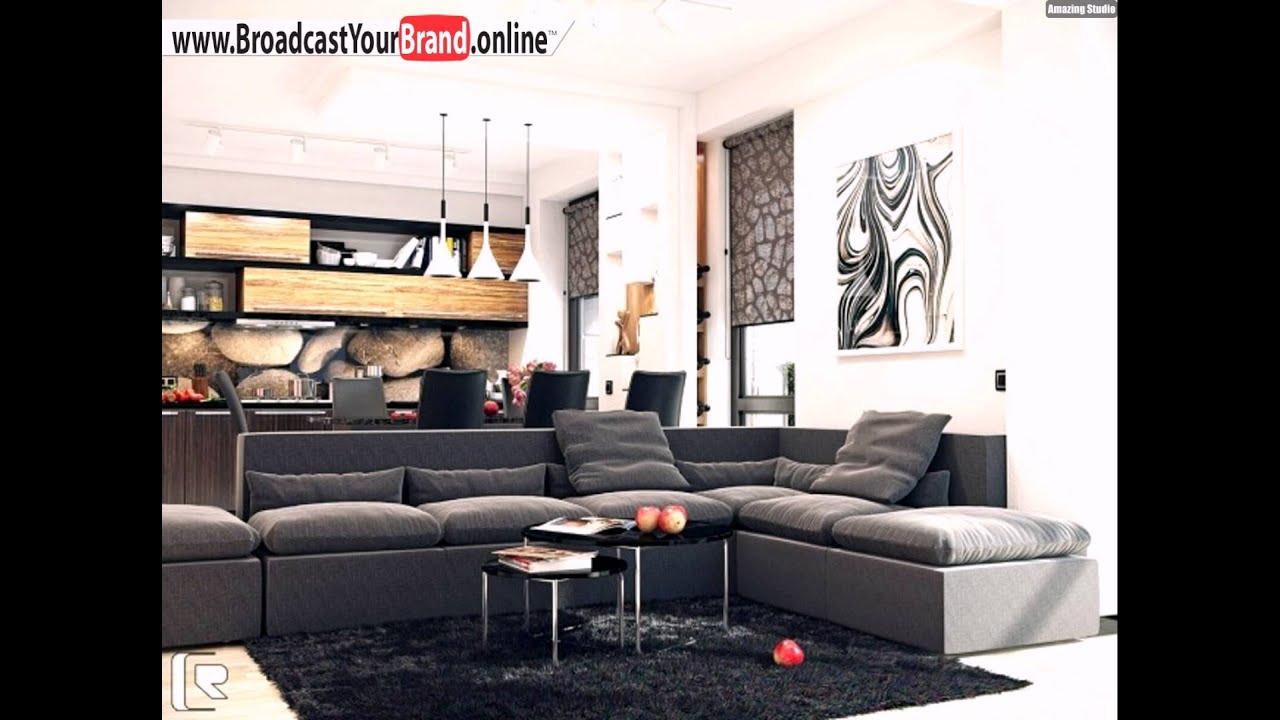 Wohnzimmer Küche In Einem Naturfarben Polstersofa Grau Holz Küchenschränke