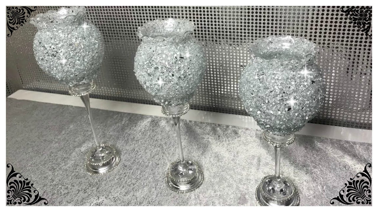 New Silver Crushed Crystal Diamond Candle Holder Stands Gift decoration item