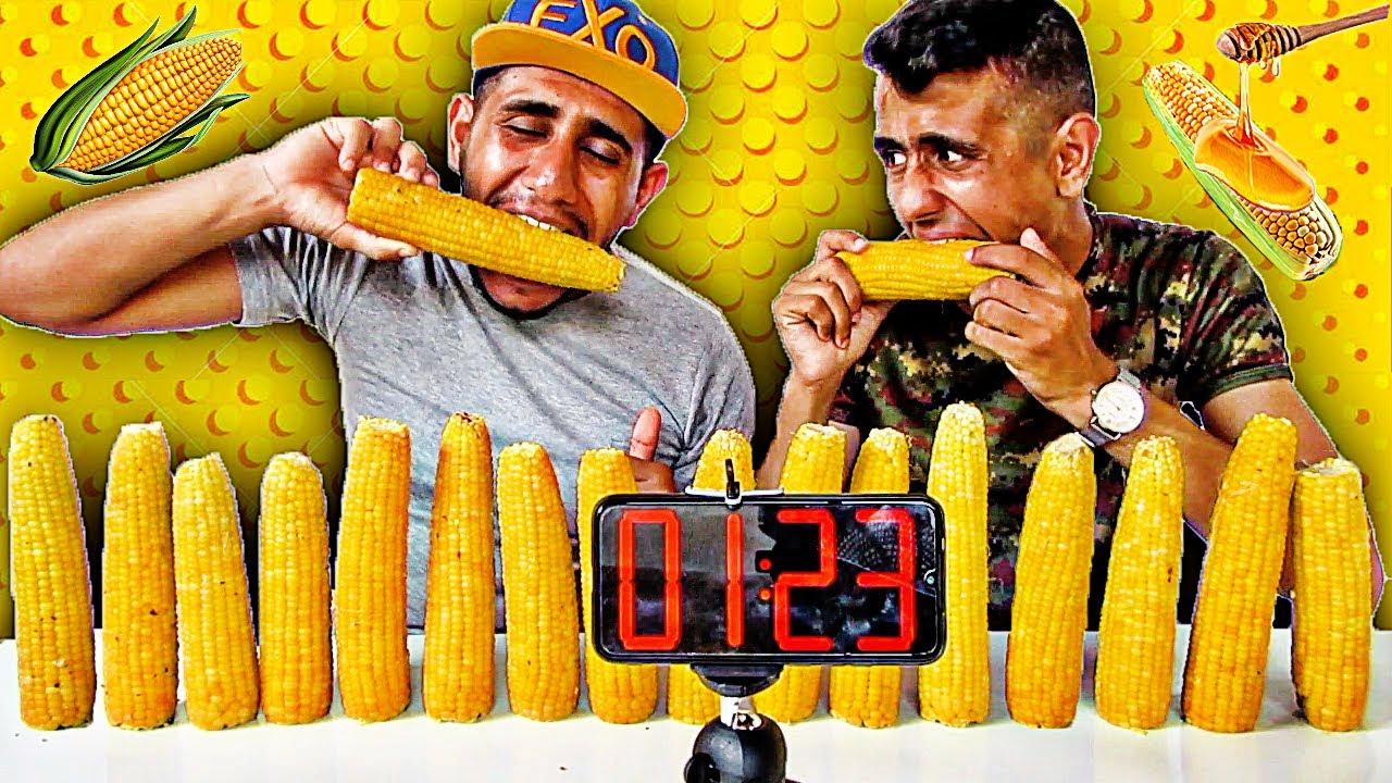 تحدي السرعه || 16 حبه ذره في 10 دقايق والعقاب غريب Corn Challenge