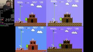 Super Mario Bros SPEEDRUN ANY % COMPARISON SIDE BY SIDE (Top 4 Runners)