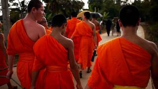 Buddhist Funeral March in Thailand