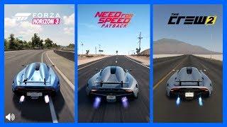 The Crew 2 Vs NFS PayBack Vs Forza Horizon 3 Koenigsegg Regera Sound Comparison