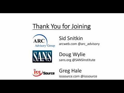 ICS Cybersecurity Challenges & Training for Industry: ARC and SANS Podcast with ISSSource 2017-09-06
