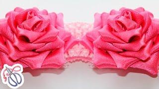 Мастер класс  Роза Канзаши (цветы из лент)(Японская техника Канзаши очень популярна сегодня. Поэтому, в этом видео уроке я покажу как сделать Розу..., 2013-10-16T09:12:40.000Z)