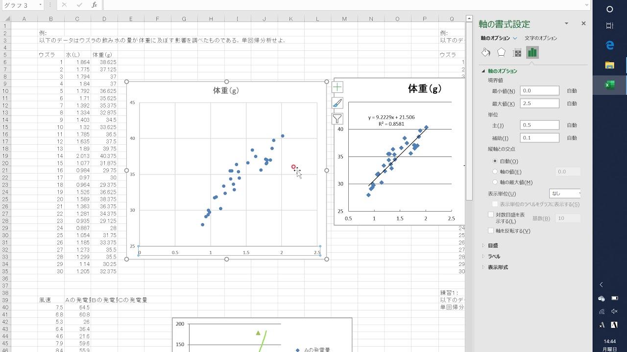 農業のための生物統計學第12回散布図と回帰線の書き方 - YouTube