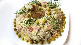 Салат ОЛИВЬЕ с копченой колбасой! Вкусно, сытно и по-домашнему! Готовлю только так!