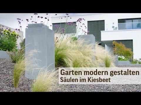 Gartengestaltung modern im Kiesbeet - Säulen im Garten
