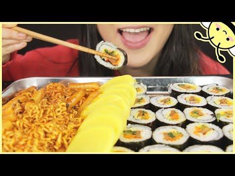 ASMR SPICY FIRE RICE CAKE NOODLES + KOREAN SUSHI ROLLS aka KIMBAP   Eating Sounds   No Talking