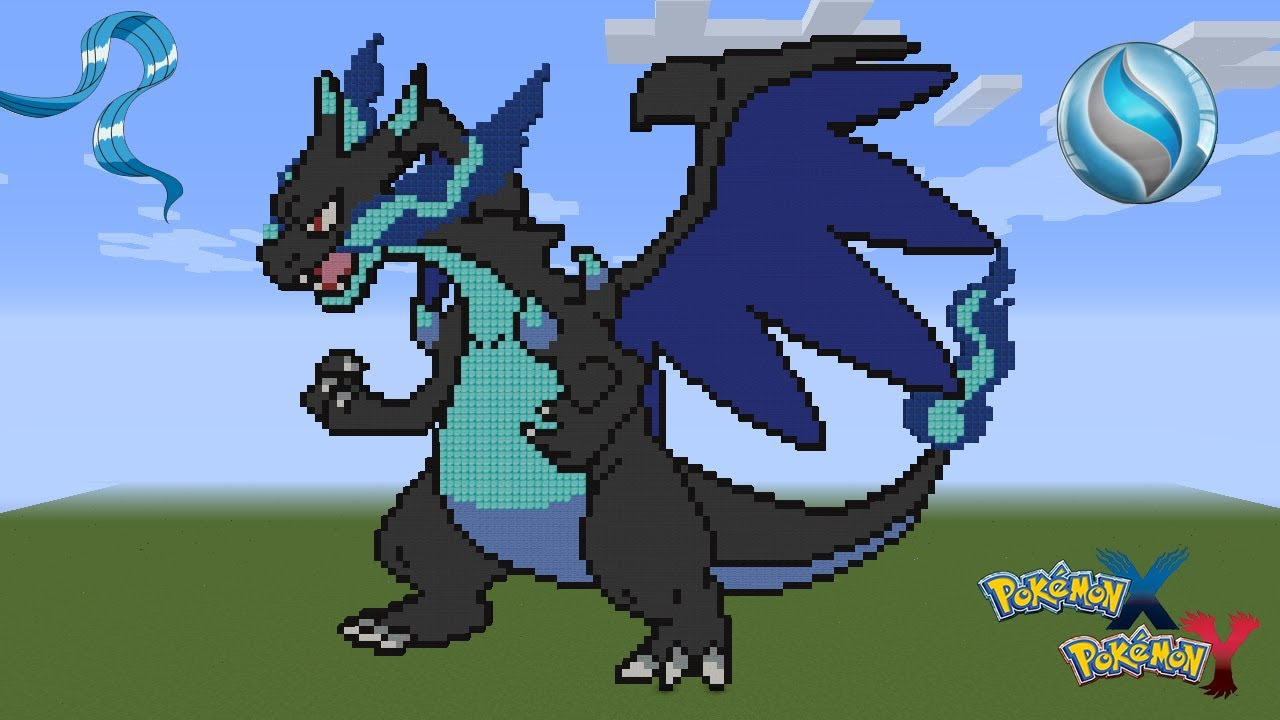 Pixel Art 1 Mega Charizard X Youtube